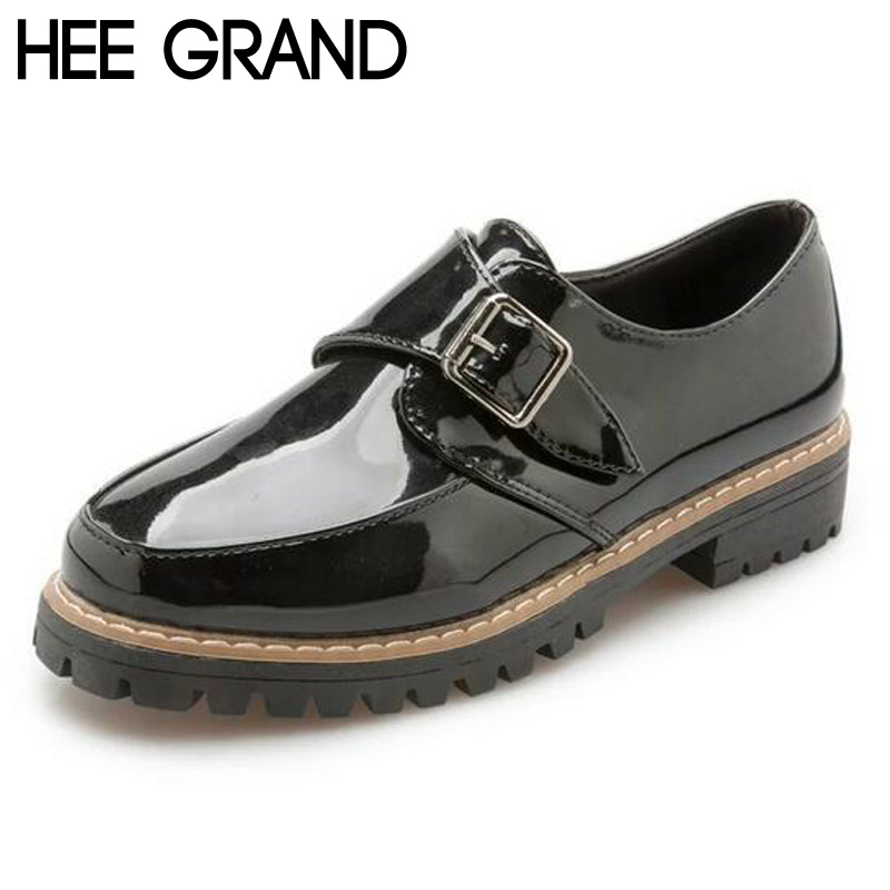 ФОТО HEE GRAND Women Oxfords Low Heel Girl's Shoes PU Leather Spring 2017 British Style Buckle Shoes Woman XWD5677