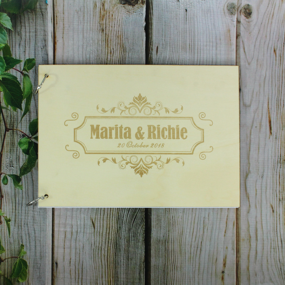 Rustic Wooden DIY Photo Album Personalized Wedding Gift for Sign Country Wedding Guest Book Custom Wood Guestbook Book Album