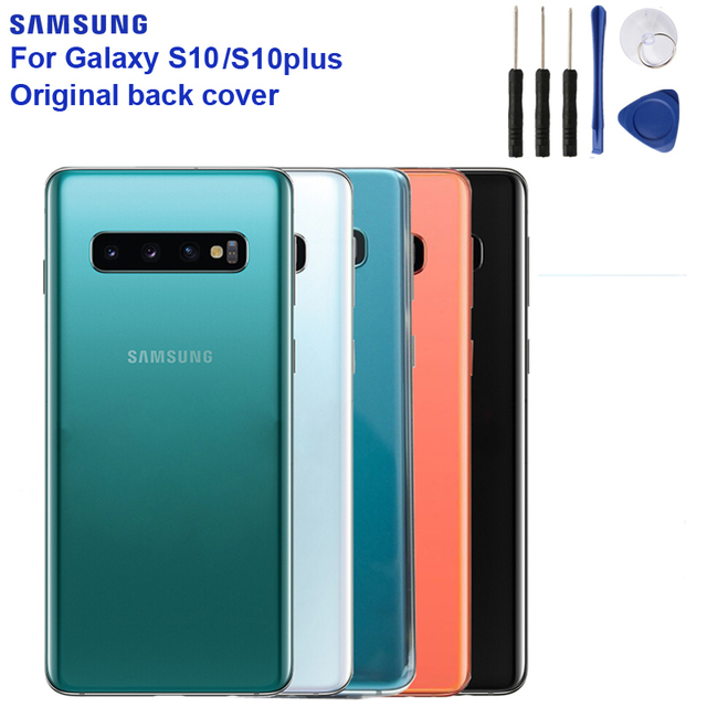 Samsung 원래 뒤 표지 케이스 Samsung Galaxy S10 X SM-G9730 S10 플러스 SM-G9750 뒤 뒤 유리 상자를위한 건전지 덮개 주거