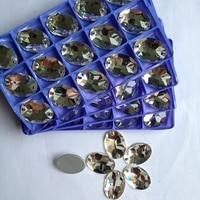 Oval clear crystal naai plaksteen strass niet hotfix steentjes voor diy trouwjurken