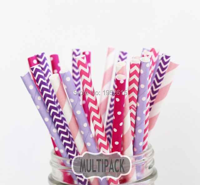 New Hot 25pcs(5styles)Paper Straws For Kids Birthday Wedding Decoration Event Party Supplies Creative Mixed Colors Free Shipping 5