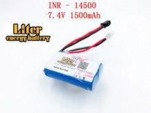 7.4 v 14500 1500 MAH Li Ion lithium oplaadbare batterij pack voor water zachte pistool en RC auto boot vliegtuig helikopter vliegtuig speelgoed