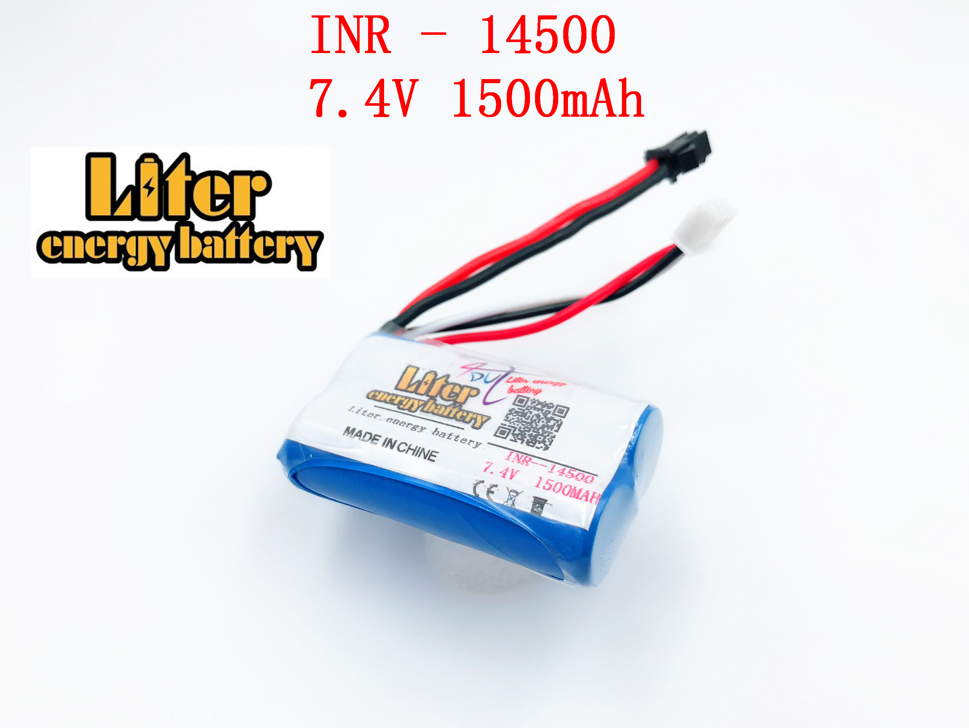 7.4v <font><b>14500</b></font> 1500MAH <font><b>Li</b></font>-<font><b>ion</b></font> lithium rechargeable battery pack for water soft gun and RC car boat aircraft helicopter plane toys image