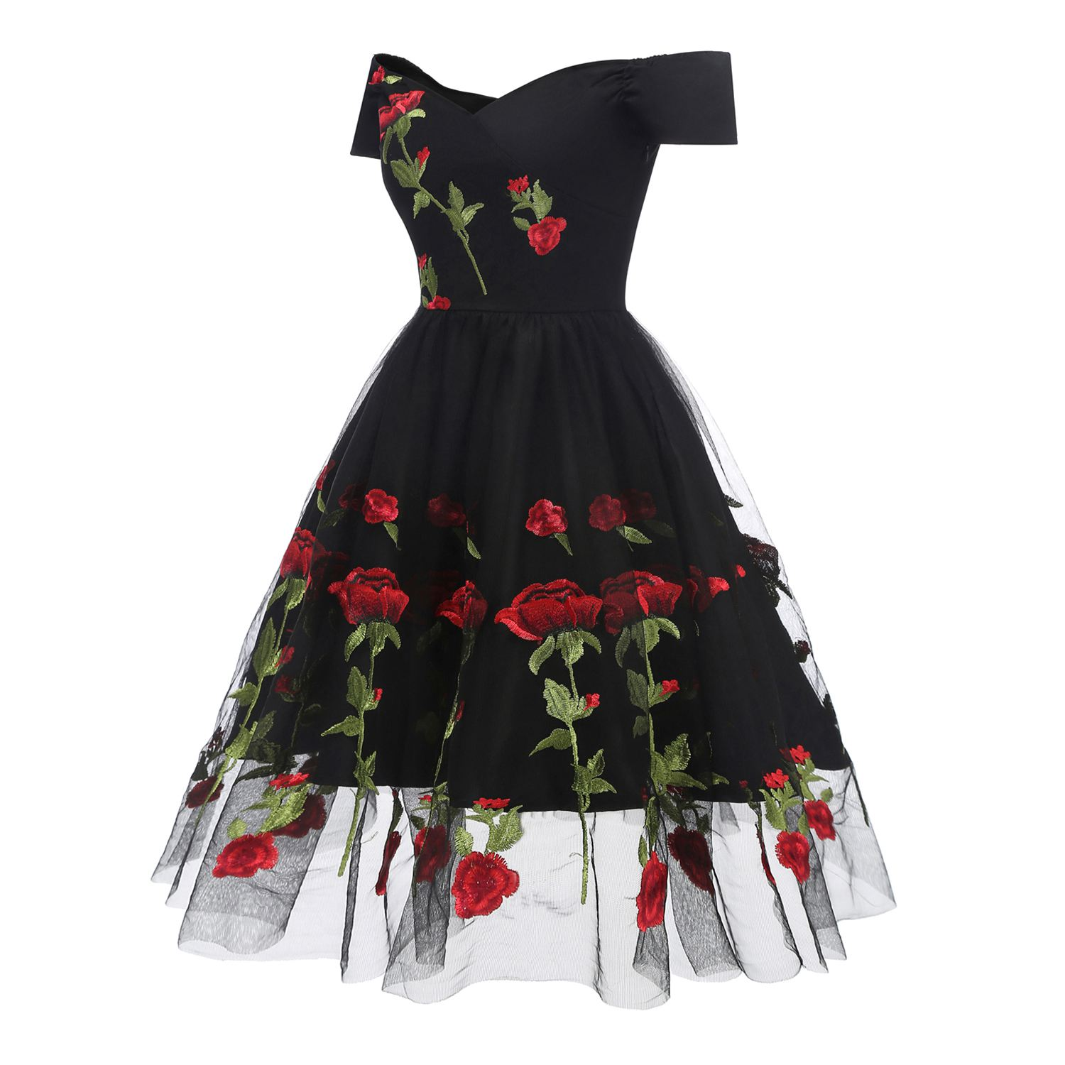 Country style retro European and American models spring summer new party dress rose lace