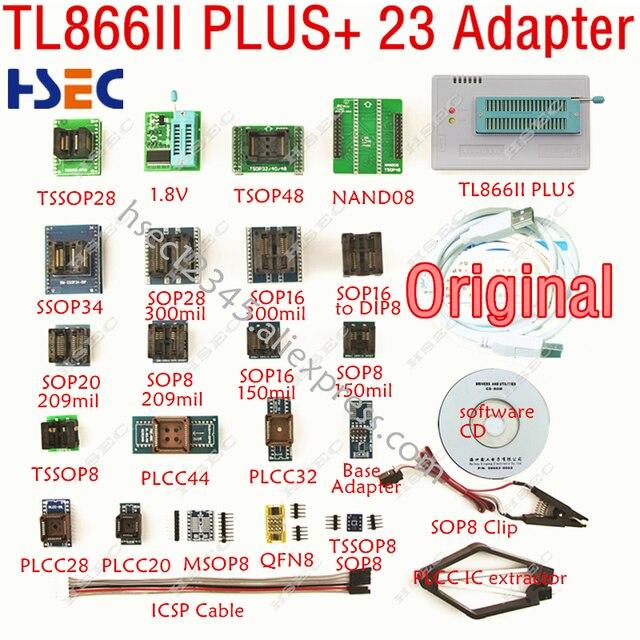 XGecu Original dernière version TL866ii plus programmeur + 23 adaptateur SOP8 IC Clipreplace MiniPro TL866CS TL866A programmeur universel