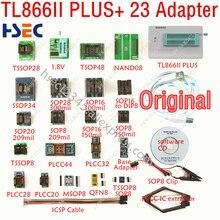XGecu Original última versión TL866ii PLUS programador + 23 adaptador SOP8 IC Clipreplace MiniPro TL866CS TL866A programador Universal