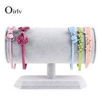 Oirlv free shipping fashion pinkice velvet t bar jewelry display holder bracelet bangle headband rack exhibition showcase