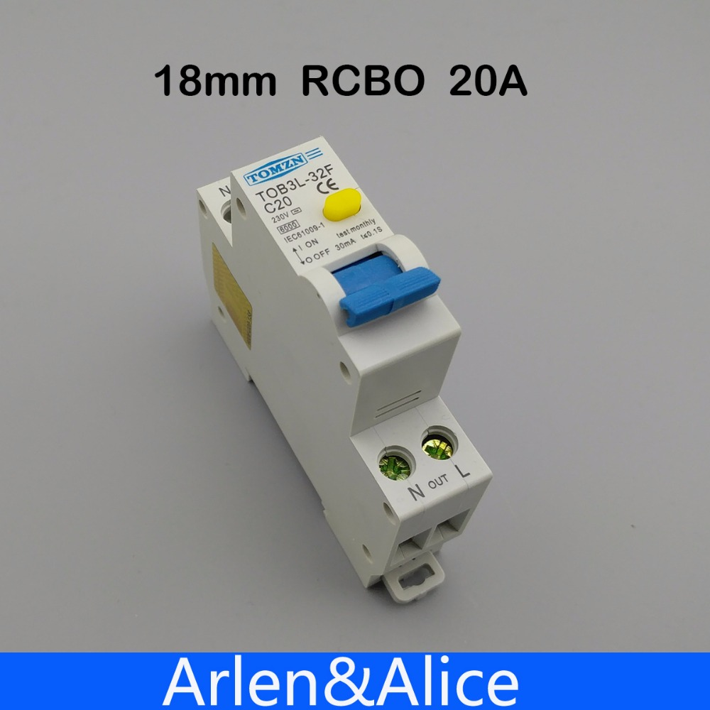 18MM RCBO 20A 1P+N 6KA Residual current Circuit breaker differential automatic with over current and Leakage protection 18mm rcbo 32a 1p n residual current circuit breaker with over current and leakage protection 30ma