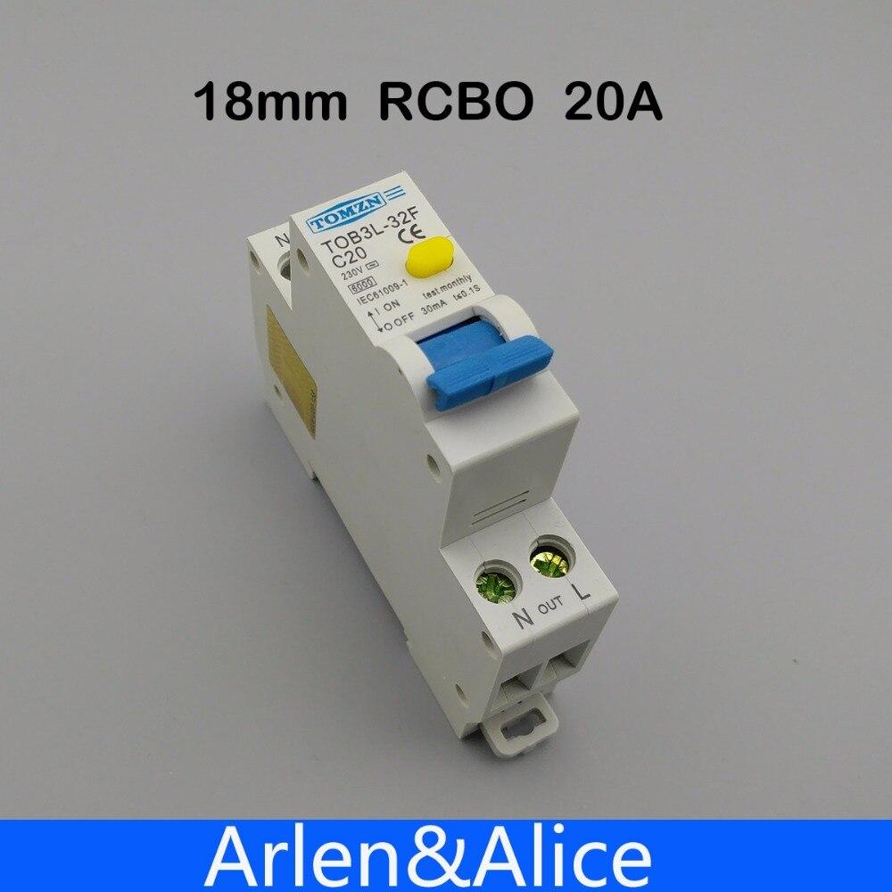 TOB3L-32F 18 ММ RCBO 20A 1 P + N 6КА Остаточный ток выключателя с по сравнению с нынешним и предохранения от Утечки дифференциальный автомат, диф автомат...
