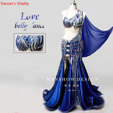New Belly Dance Set Sexy Autumn And Winter New Sequin Embroidery High End Custom Oriental Competition Blue Suit