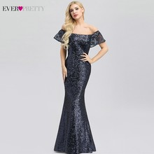 Ever Pretty Sexy Navy Blue Evening Dresses Long Sequined Off The Shoulder Ruffles Elegant Formal Party EP00920NB Abiye
