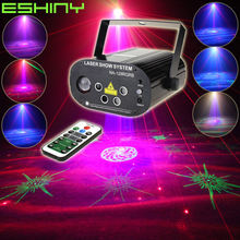 Eshiny Mini 5 Lens Afstandsbediening Rgb Laser 128 Patronen Projector Led Party Bar Dj Vakantie Xmas Dance Stage Effect Licht tonen N75NA5RGB(China)