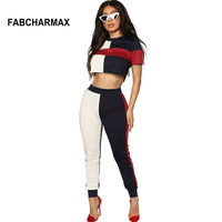 Red White Black Patchwork Two Piece Sets Women New Fashion Striped Crop Top Pencil Pants 2