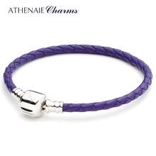 ATHENAIE Purple Single Braided Leather 925 Sterling Silver Snap Clasp Bracelet Fits Fit All European Charm Bead