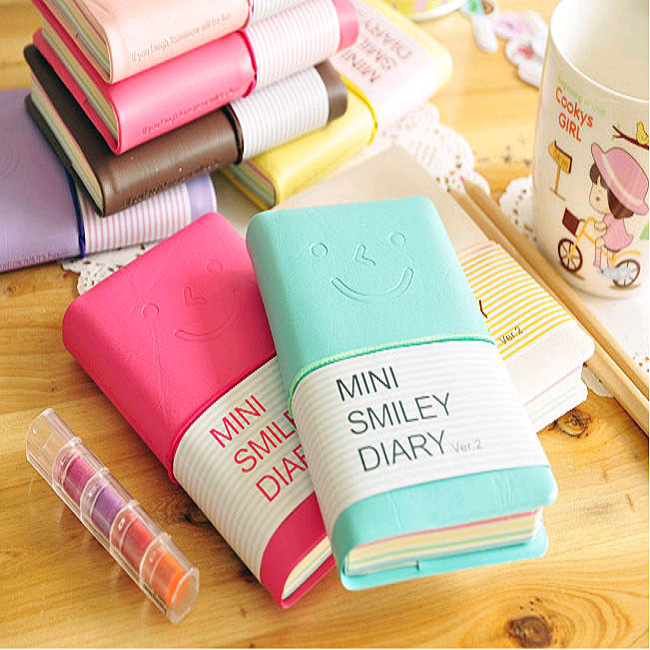 Smile <font><b>Notebook</b></font> Fitted Hard copybook Color <font><b>diary</b></font> book notepad <font><b>Kawaii</b></font> stationery Gift Zakka office material School supplies image