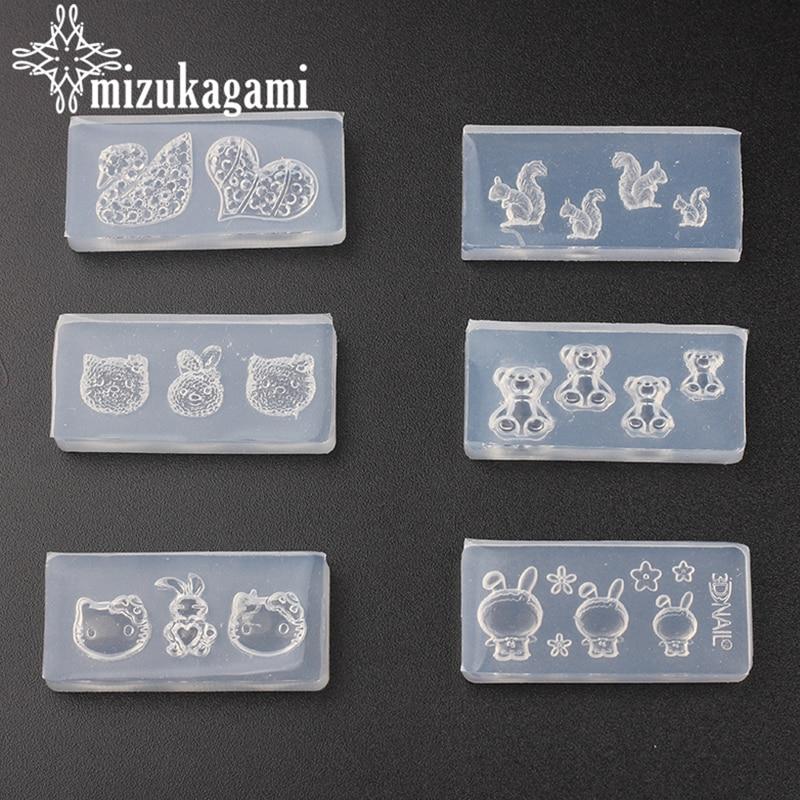 1pcs UV Resin Jewelry Liquid Silicone Mold Animal Rabbit Bear Heart Resin Mold For DIY Jewelry Nail Art Mold