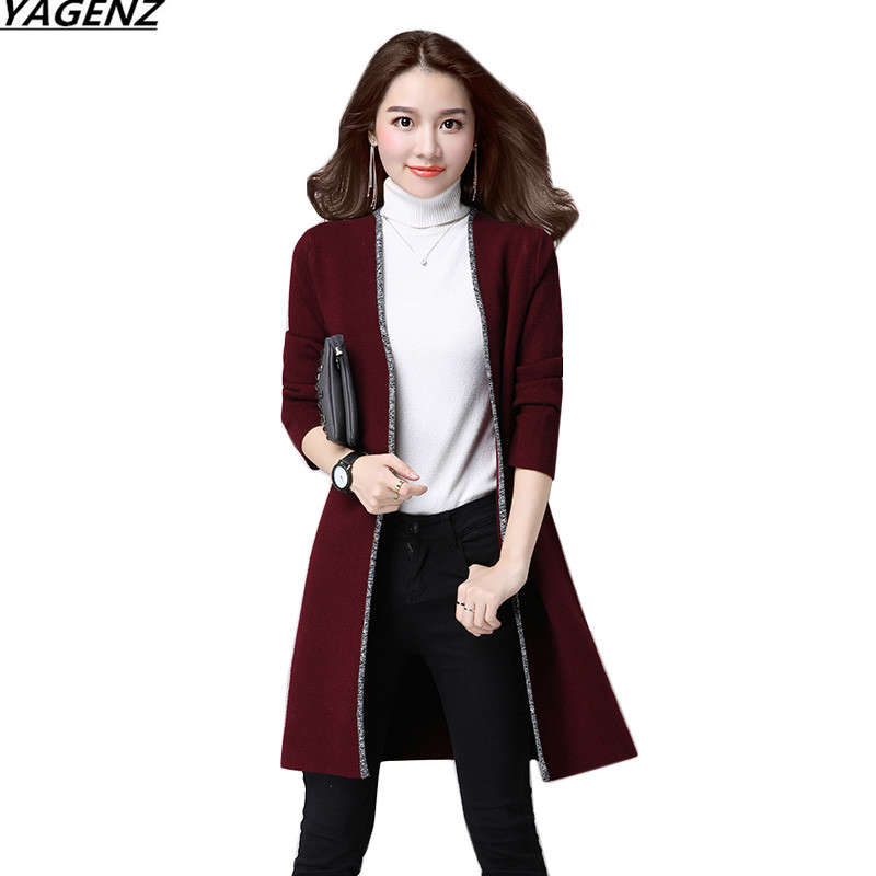 Autumn Winter Sweater Cardigan Coat 2017 New Medium Long Knitted Cardigan Long Sleeve Outerwear Plus Size Women Clothing YAGENZ
