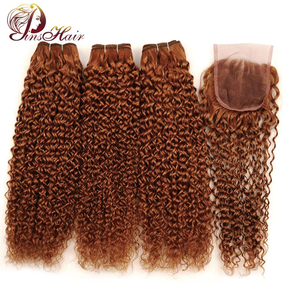 Pinshair Buy 3 Get 1 Free Peruvian Jerry Curl Human Hair Weave Bundle With Closure 30 Blonde Hair 3 Bundles With Closure NonRemy