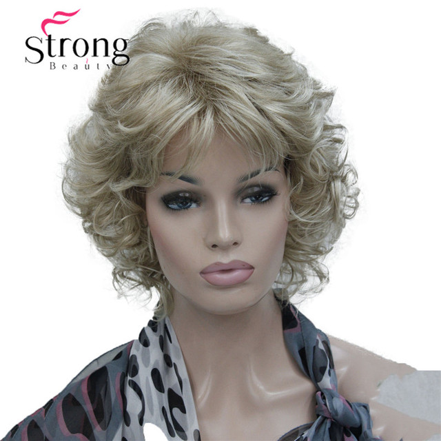 StrongBeauty Korte Zachte Shaggy Gelaagde Blonde Mix Full Synthetische Pruik Krullend vrouwen Pruiken