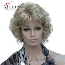 StrongBeauty короткий мягкий пушистый многослойный блонд микс полный синтетический парик кудрявые женские парики