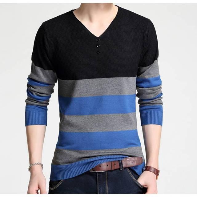 1306 Spring 2017 Fashion Vintage Striped Slim Sweter Hombre Pull Homme Mens Sweaters V Neck
