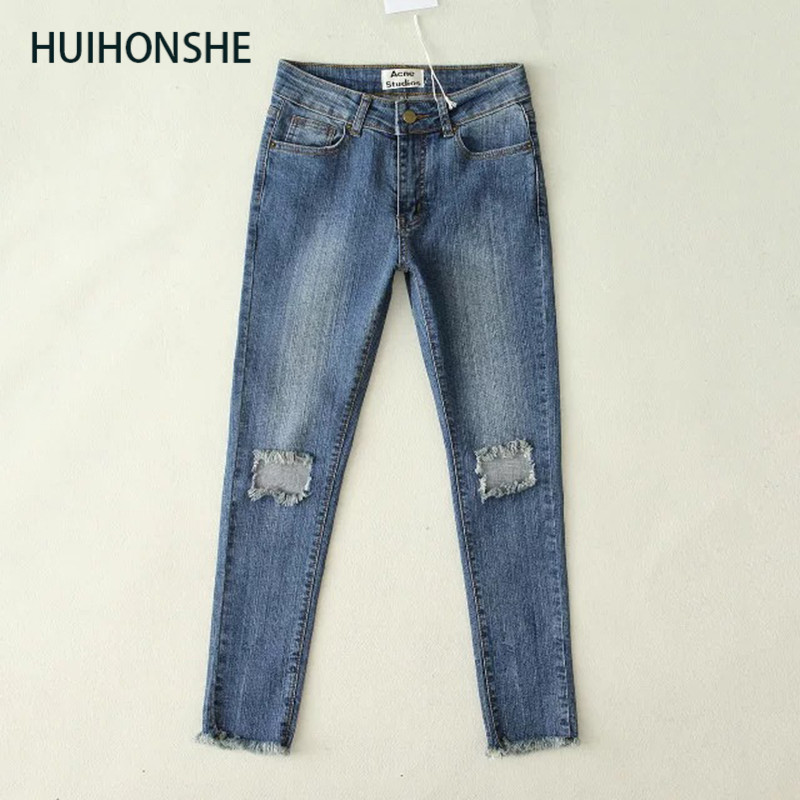 HUIHONSHE Women Skinny Jeans New Fall Fashion Pencil Pants Denim Strech Blue Black Hole Ripped High Waist Size S-L Jeans CL0099 tommy hilfiger new blue women s size small s plaid print drawstring pants $89