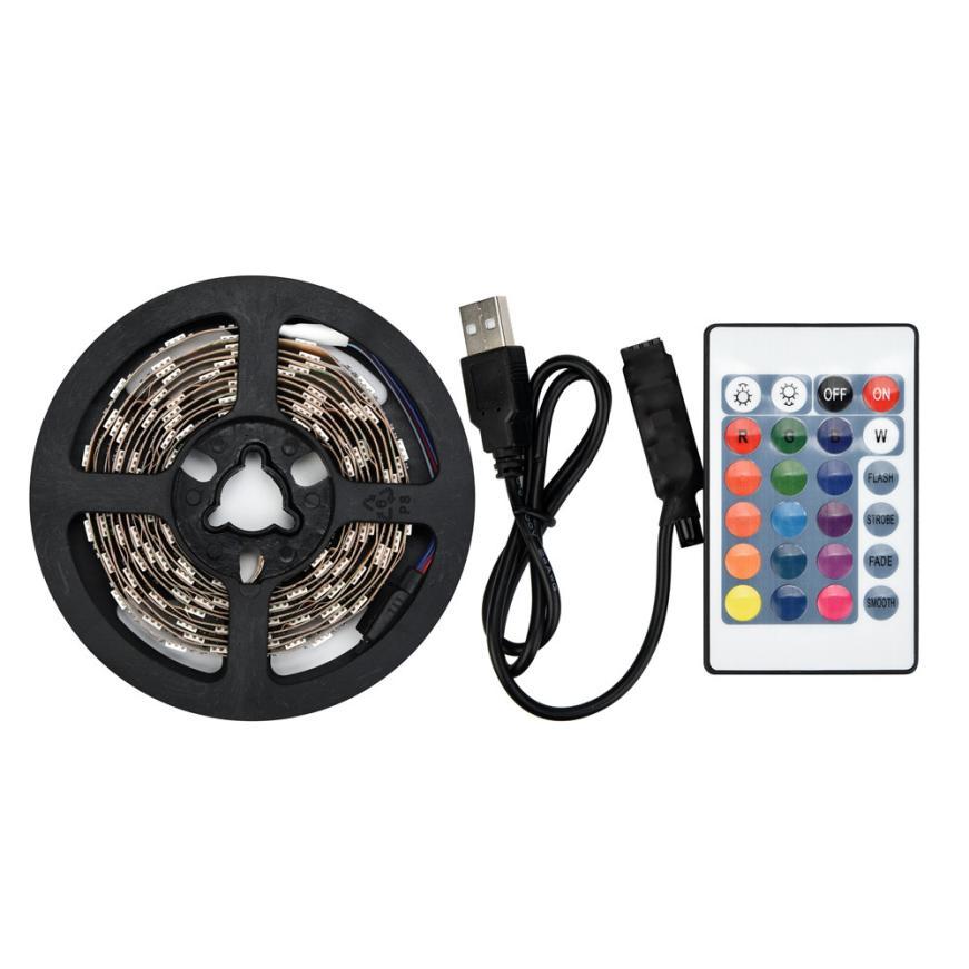 MUQGEW 50-200CM USB LED Strip Light TV Back Lamp 5050RGB Colour Changing+Remote Control Led Ribbon Tape Home Decoration Lamp