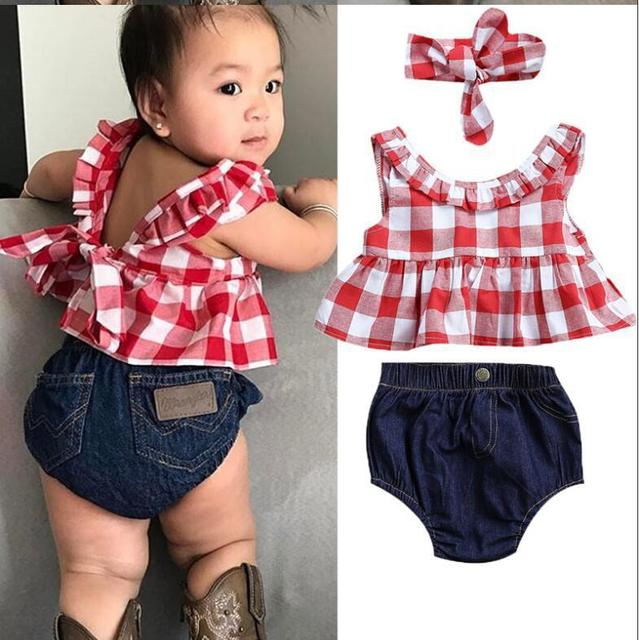 2019 Summer baby girl clothing set Plaid Skirted T-shirt Tops+Denim Short Bloomers Headband  baby girl clothes Newborn Outfits