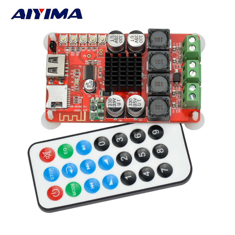 Aiyima TPA3116 Bluetooth Receiver Amplifier Audio Board Digital U Disk TF Decoding With Remote 2X50W Amplificador tf card u disk mp3 format decoder board module amplifier decoding audio player