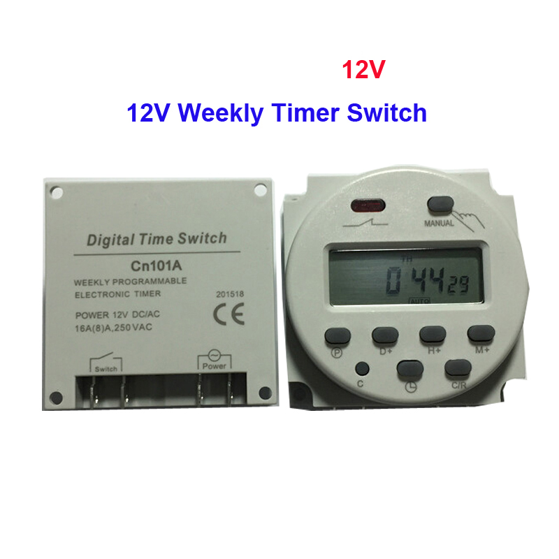 цена на Free Shipping 1 Piece DC 12V 16A Digital LCD Power Weekly Programmable Timer Time Switch Microcomputer Control Switch