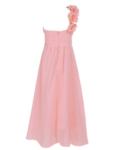 Image 3 - 4 14Y Girls Dress Formal Party and Wedding Bridesmaid Maxi Dress with Flower Kids Girls Summer Chiffon One shoulder Dress
