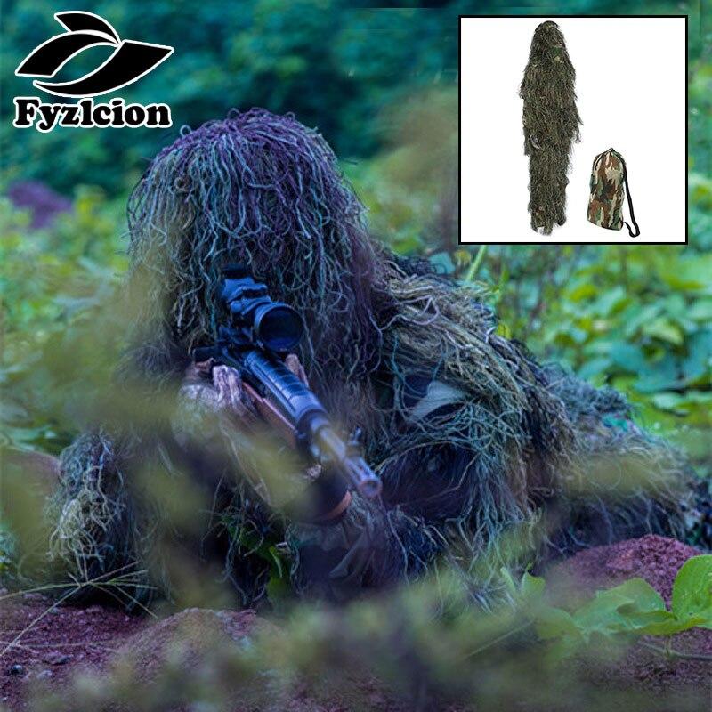 Tática de Camuflagem Ghillie Bionic Formação 3D Arco caça Ghillie Terno Triagem e carrinho da árvore