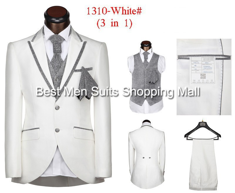 Dropshipping Fashion Slim Fit Prom Men Wedding Suits White Mens Red Black Grey CoffeeJacket Pants Vest Tie Handkerchief In From