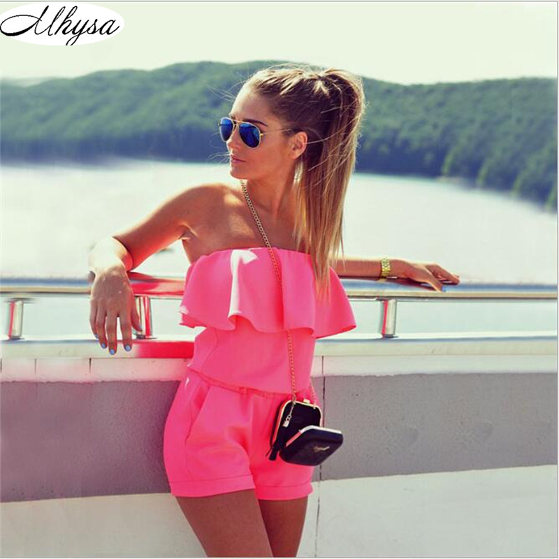 Dresses Womens Beach 2017 Summer Women Fashion Casual Ruffles Strapless Waist Tightening Candy Color Womens Dress