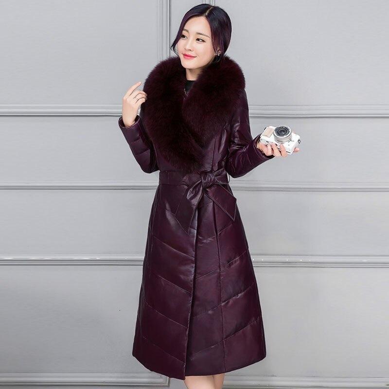 Épais long De Dames Femmes Mince Imitation Purple Survêtement Black Et Taille Renard Fourrure Femelle Coton Veste Nouvelle Parcs 2018 Cw516 dark Col Milieu Grande Hiver naYqwC66