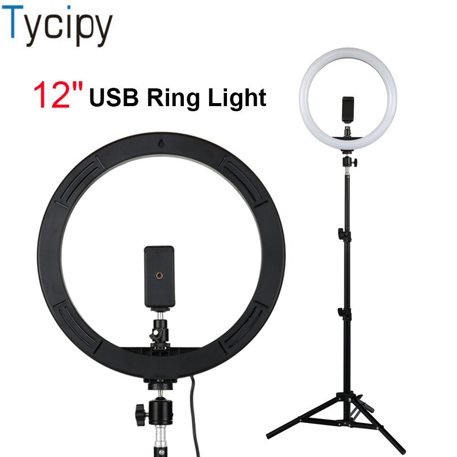 Tycipy Photo Studio Photography Lighting 12 Selfie Ring Light With Tripod Stand Phone Holder For YouTube
