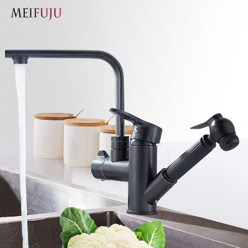 Black kitchen faucets brass Two Spouts Pull Out Spray Hot Cold Brass Kitchen Faucet Mixer Tap Sink Single Handle 360 swivel donyummyjo factory direct sale modern solid brass pull out spray chrome brass kitchen faucet mixer tap single handle two spouts