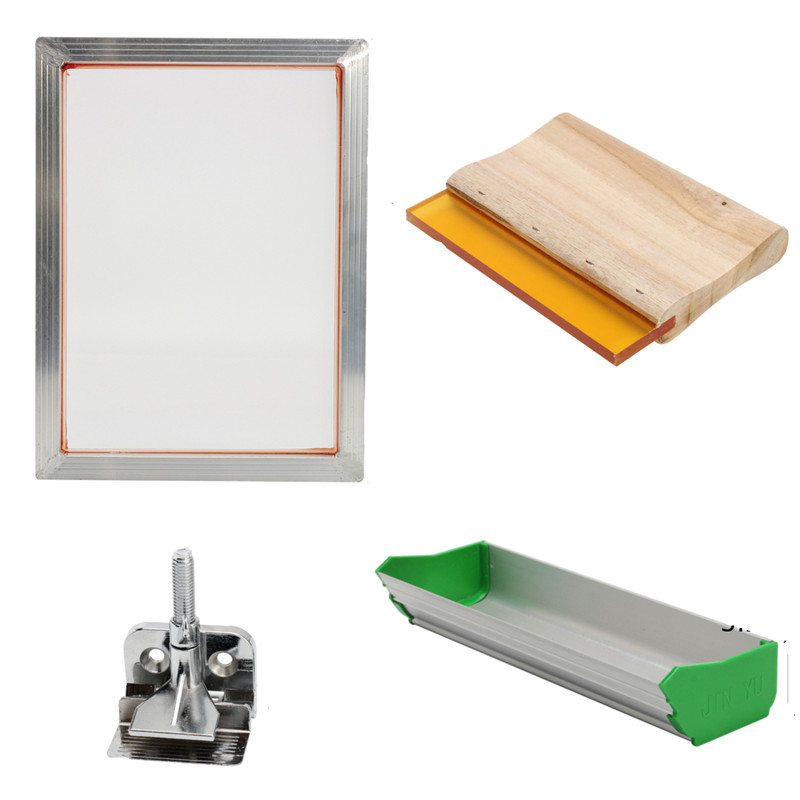 5Pcs/Set Screen Printing Kit Aluminum Frame + Hinge Clamp + Emulsion Scoop Coater + Squeegee Screen Printing Hand Tool Parts