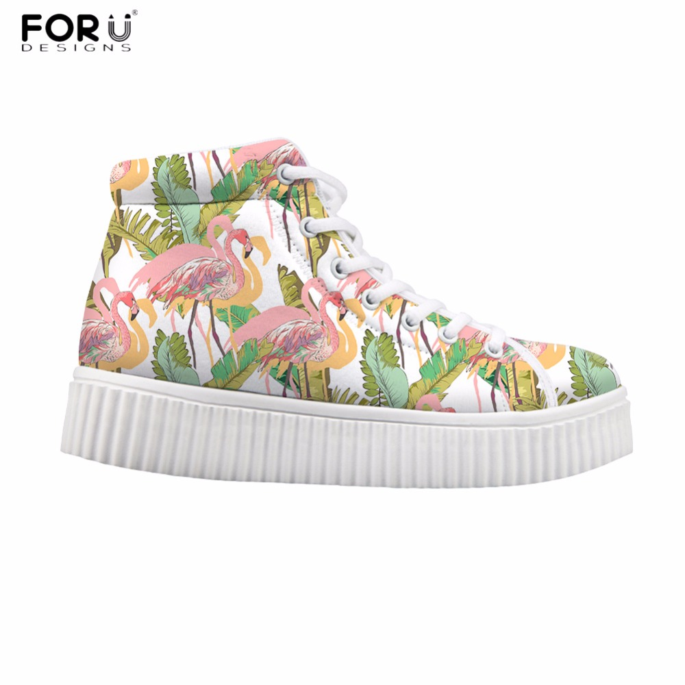FORUDESIGNS Womens Casual Sneakers Fashion Tropical Flamingo Design Women High Top Creepers Ankle Boots for Ladies Flats Women
