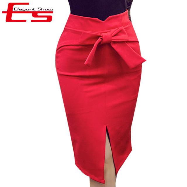 4XL 5 XLNew Arco 2017 Mujeres del Resorte Faldas Lápiz Más El Tamaño rojo Longitud de La Rodilla Falda de Talle Alto Bodycon Casual Abierto de Hendidura Saias