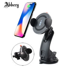 Abbery QI Wireless Car Charger Mount 2 in 1 Car Air Vent Dashboard Phone Holder Stand for iPhone X/8/8 Plus for Samsung S9 Note9(China)