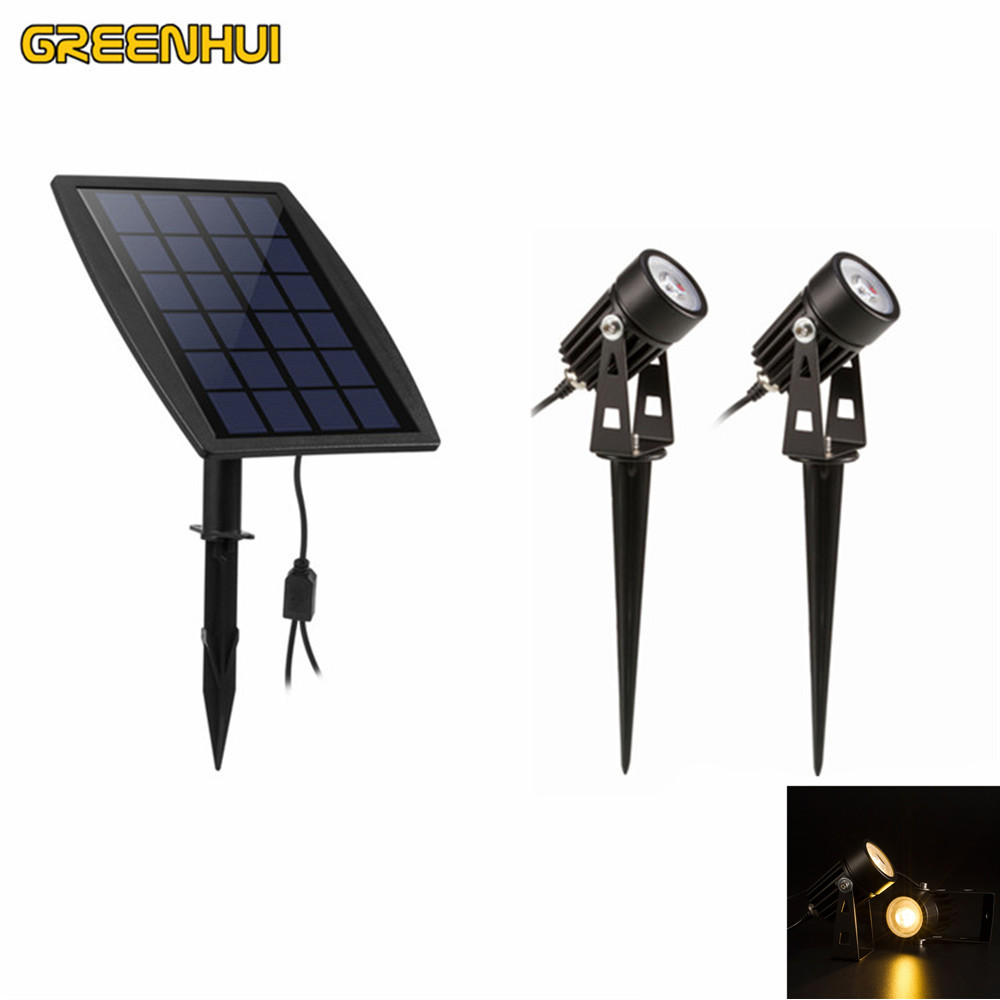 New Arrival Dual Head 1W*2 Led Solar Light Outdoor Solar Power Spotlight  Garden Lawn
