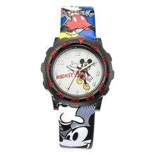 Original Disney boy kids children clock students leather quartz Mickey Mouse cartoon waterproof number Luminous MK-14033