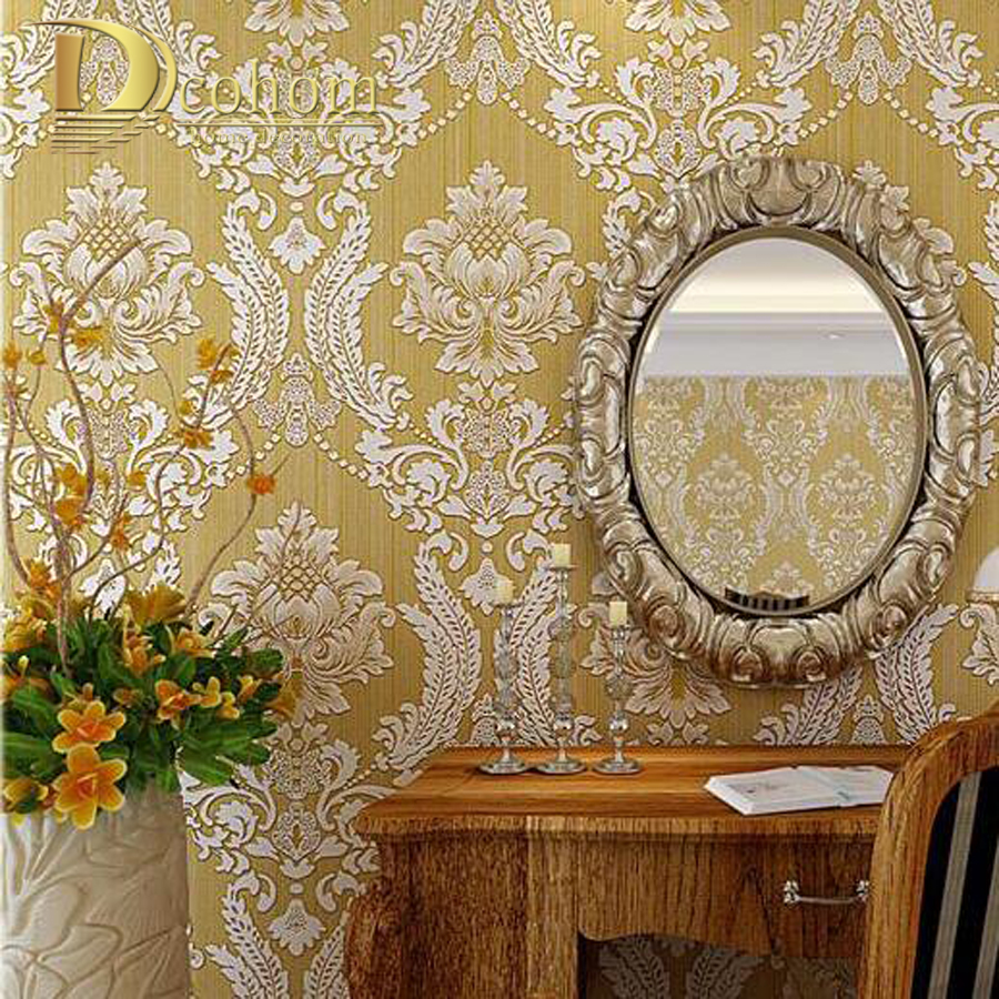European Embossed Damask Wallpaper 3D Stereoscopic Design