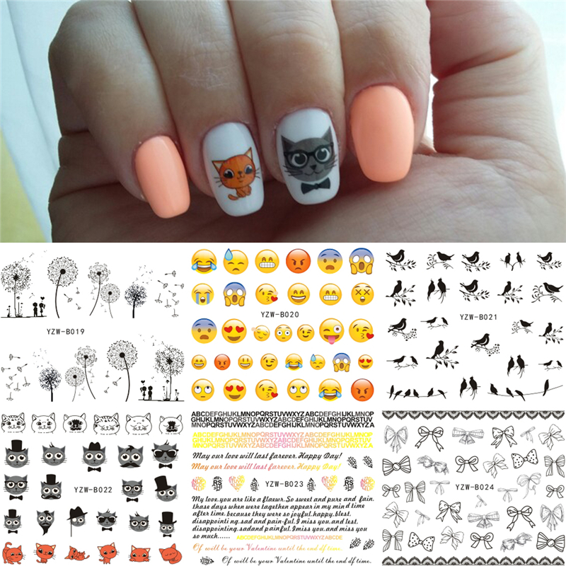Delightful Colors And Exquisite Workmanship Brave 6 Sheets/lot Mixed Bird Cat Dandelion Face Emoji Etc Designs Water Transfer Nails Art Sticker Nail Wrap Decals 2019 Nails Decor Famous For Selected Materials Novel Designs