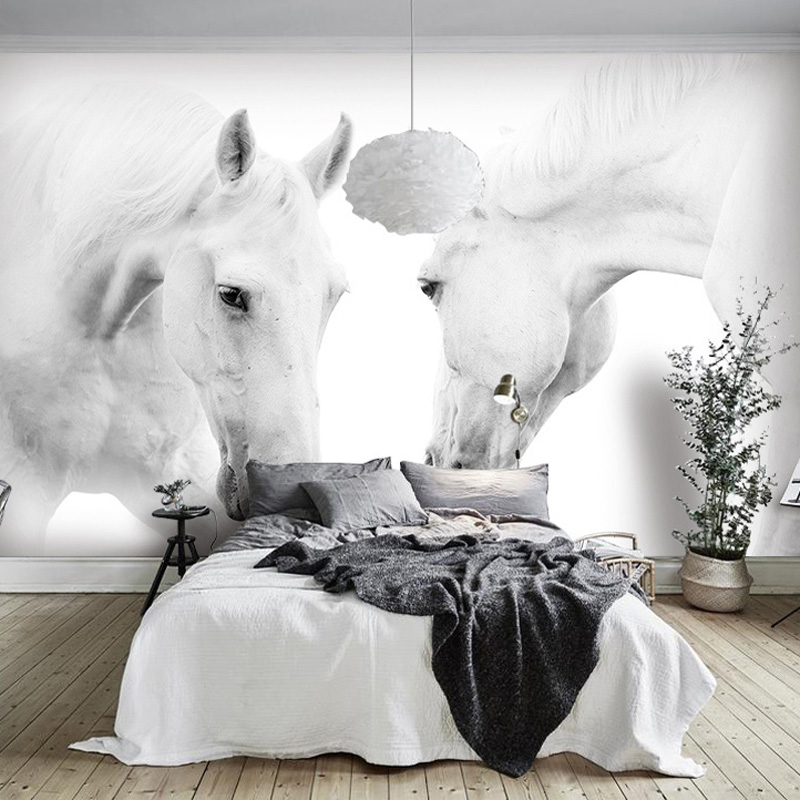 White Horse Photo Wall Paper Mural Papel Parede 3D Living