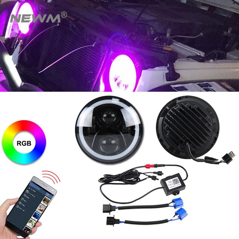 2 pc Pour Wrangler JK CJ 7 pouces RGB DRL Halo Anneau Rond LED Phares Angel Eyes avec Multicolore Bluetooth Télécommande pour Jeep
