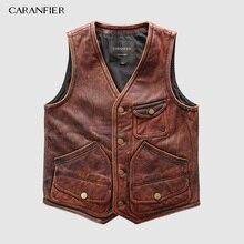 CARANFIER Mens Retro 100% Cowhide Vests Brand Angel Motorcycle Biker Sleeveless Jacket Male Genuine Leather