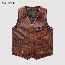 CARANFIER Mens Retro 100% Cowhide Vests Brand Angel Motorcycle Biker Sleeveless Jacket Male Brand Angel Genuine Leather Vests(China)