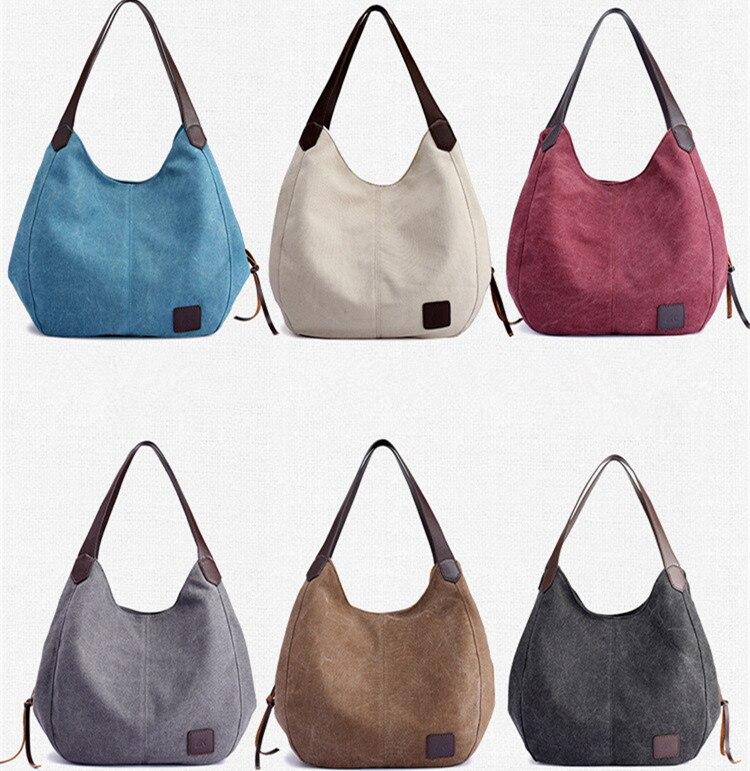 Frauen Leinwand Handtaschen Hohe Qualität Weibliche Hobos Einzelnen Schulter Taschen Vintage Feste Multi-tasche Damen Totes Bolsas